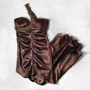 XSCAPE Brown Ruched Satin Mermaid Prom Dress